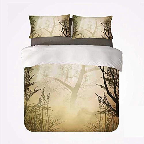 Juego de Funda nórdica Mystic Forest Decor Juego de 3 sábanas duraderas, Fantasy Golden Mist Mystical Spot Deep Down in Forest con Sun Beam para Interior