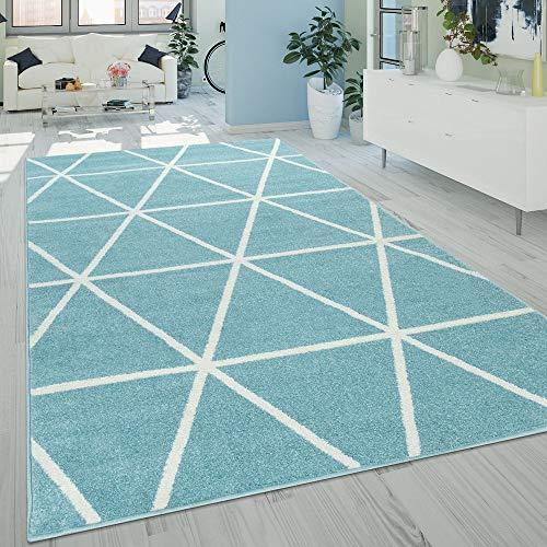Alfombra Salón Pelo Corto Moderna Diseño Geométrico Motivo Rombos Azul, tamaño:120x170 cm