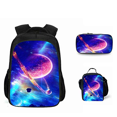 QJ Galaxy Space Pattern Backpack 3-piece School Bag Youth Outdoor Sports Travel Backpack,Blue purple
