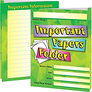 "Really Good Stuff Important Papers Folders, 9½"" by 12"" (Set of 12) – Laminated 2-Pocket Folders – Keep Papers Secure – Great for Parent-Teacher Communication – One Pocket for Review, One to Return"