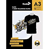 KOALA Papel de transferencia de tinta para camisetas de oscuros, 10 hojas, A3