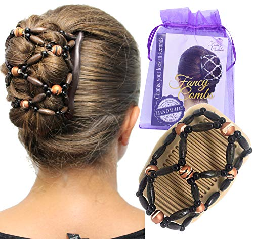 Fancy Combs Thick Hair Clip Bun Holder - Hair Accessories for Women Combs Clips - Natural Wooden Beaded Double Magic Hair Combs – Instant Bun Maker, Easy Updo, French Twist Holder, Combs Interlock under Your Hair, Secure Hold All Day.