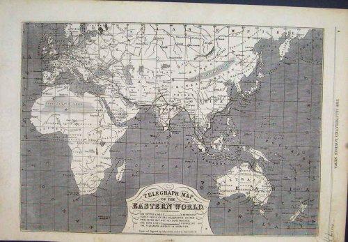 Telégrafo mapa Oriental mundo 1865Antique Print