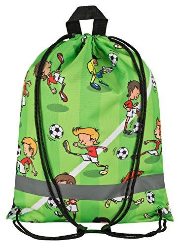Aminata Kids - Kinder-Turnbeutel Fussball-Motiv 34-x-43-cm Jungen - grün, bunt - Nylon, Sicherheits-Reflektor, verstärkte Nähte, kein Chemiegeruch, Aufhänger & rutscht Nicht durch Brustclip