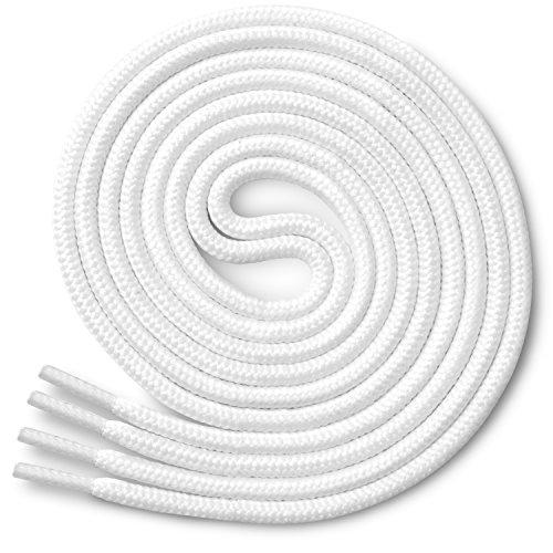 Miscly – Schnürsenkel Rund, Reißfest [3 Paar] für Sportschuhe, Sneaker und Stiefel – 100% Polyester - Ø 4 mm (69 cm, Weiß)