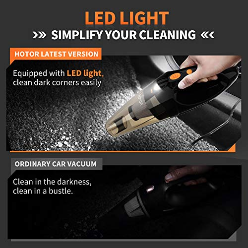 HOTOR Corded Car Vacuum Cleaner with LED Light, DC12-Volt Wet/Dry Portable Handheld Auto Vacuum Cleaner for Car, 16.4 Feet Power Cord with Carry Bag