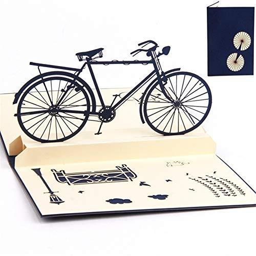 X-Labor 3D Pop up Karte mit Umschlägen handgemachte Grußkarte Klappkarte für Geburtstag Weihnachten Glückwunschkarten Frühjahrskarte Fahrrad