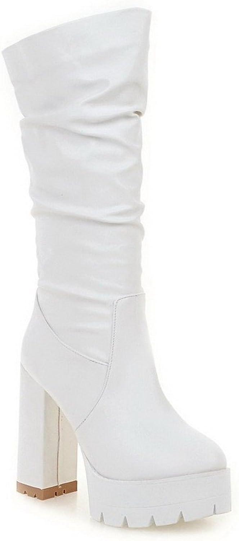 Put Woherrar High klackar Solid Round Closed Toe Toe Toe Drag On stövlar  Beställ nu njut av stor rabatt