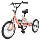 16 Zoll Dreirad für Kinder mit Korb, Kinderdreirad Cruiser Bike, Kinderfahrrad für Mädchen und...