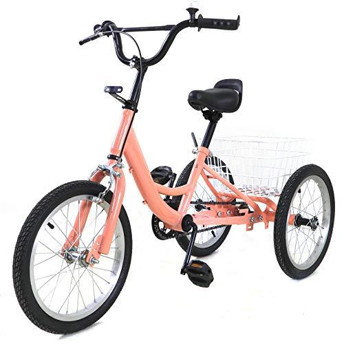 OUKANING Triciclo de 16 Pulgadas para niños, Bicicleta de Equilibrio, Triciclo para niños, Velocidad única para niños de 7 a 10 años, niñas