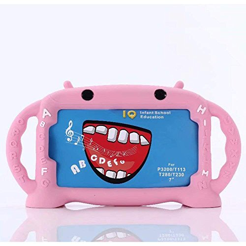 CHIN FAI Kids Case for Samsung Galaxy Tab 3/ A/E Lite 7 Inch Tablet, Cartoon Robot Shock Proof Silicone Protective Convertible Handle Stand Kids Friendly Case for Samsung Model P3200 SM-T230 SM-T113