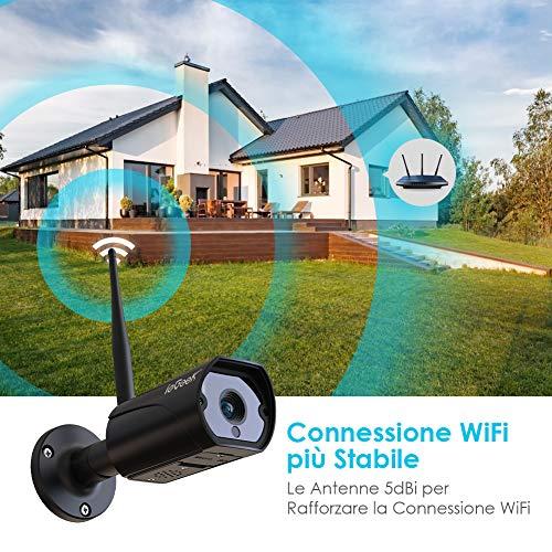 ieGeek Telecamera di Sorveglianza 1080P Telecamera WiFi Esterno con Antenna 5dBi Wi-Fi più Potente, Rilevazione Movimento Audio Bidirezionale, Visione Notturna 30m