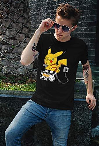 T-Shirt Manga - Parodie Pikachu de l'Animé Pokémon - En charge... (Super Deformed) - T-shirt Homme Noir - Haute Qualité (860) - Small