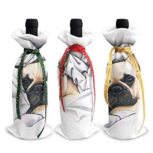 3Pcs Wine Bottle Cover Decoration Cover Bags French Bulldog - @Miudafrenchie Gift Bags Pouch Gift Wrap for Christmas Party Festival Dinner Party Table Decor