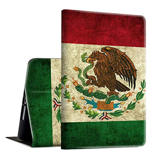 iPad 9.7 2018/2017 Case,iPad Air 2/iPad Air Case, Rossy PU Leather Folio Smart Cover Shock Case with Adjustable Stand & Auto Wake/Sleep Feature for Apple iPad 6th/5th Gen,Mexican Flag