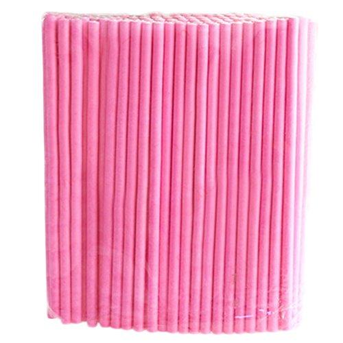 CAOLATOR 100 Stück Lollipop-Stick Fest Kuchen Papier-Stick Farbig Schokolade Papierlutscherstick Cotton Schokoriegel 10cm Rosa