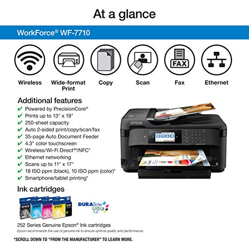 WorkForce WF-7710 Wireless Wide-format Color Inkjet Printer with Copy, Scan, Fax, Wi-Fi Direct and Ethernet, Amazon Dash Replenishment Ready Photo #4