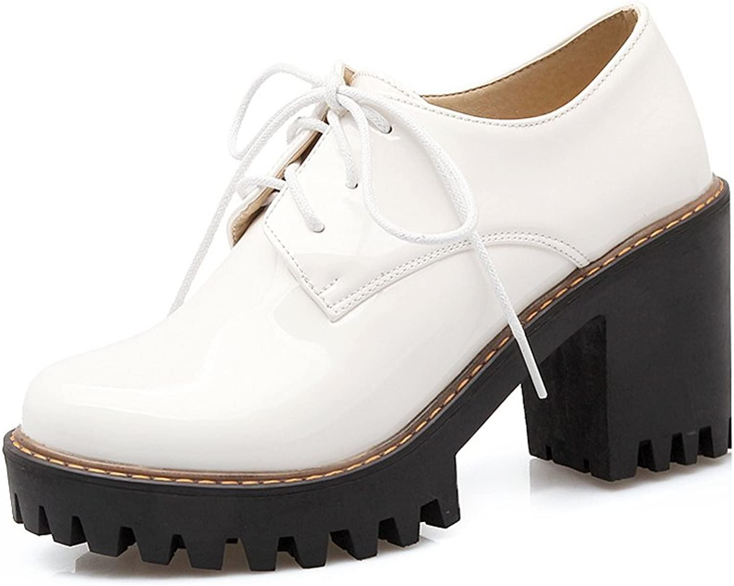 Lucksender Womens Lace Up Block High Heel Oxford shoes