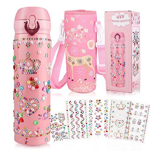 Yojoloin DIY Wasserflasche Trinkflasche Geburtstagsgeschenk für Mädchen Edelstahl BPA Frei Geschenke für Kinder Auslaufsicher 500ml mit Glitzernden Strass-Edelsteinaufklebern