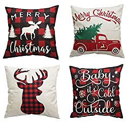 PSDWETS Merry Christmas and Christmas Tree Decorations Cotton Linen Winter Deer Pillow Covers