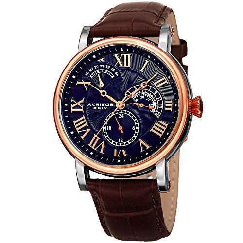 Akribos XXIV AK1003 Men's Quartz Multifunction Guilloche Pattern Rose-Tone/Blue & Brown Leather Strap Watch - (Blue & Brown)