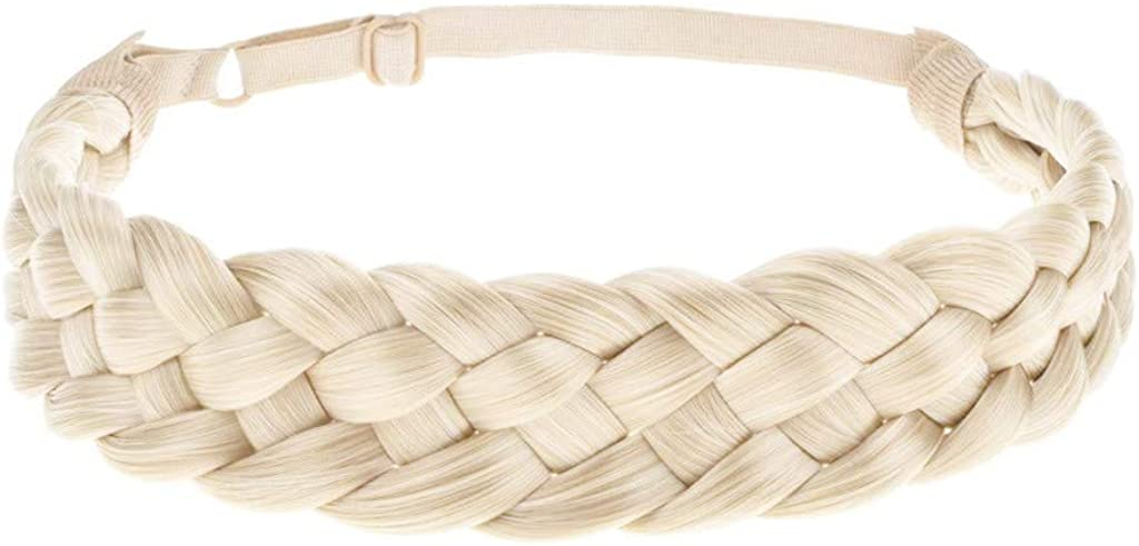 HDGTSA Synthetic Hair Braided Headband Classic Chunky Wide Plaited Braids Elastic Stretch Hairpiece