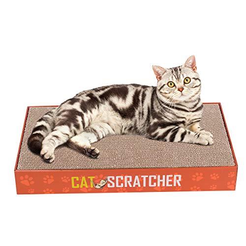 Poylic Katzenkratzbrett/Kratzbrett für Katzen, 2 in 1, inklusive 2 austauschbarer Kratzpappe (460 x 265 x 60 mm)