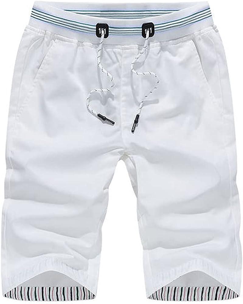 NP Men's Casual Shorts, Summer Travel Beach Short for Men Loose Home White Shorts