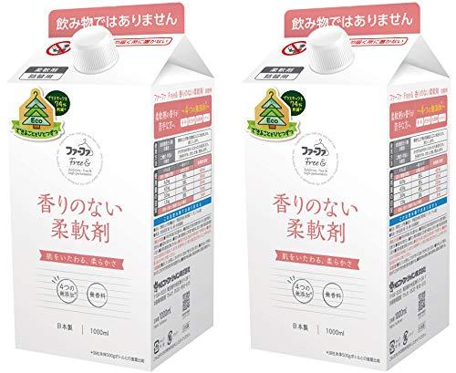 ファーファ 濃縮 柔軟剤 無香料 フリー& (フリー アンド) エコ パック 詰替 (1000ml) 2個 セット