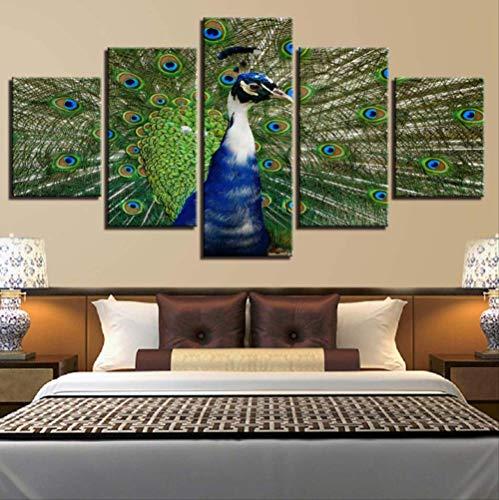 TytlPrints Leinwand Wandkunst 5 Stücke,Tier Pfau Hd Drucke Bilder Modulare Poster,Für Wohnzimmer Wohnkultur Moderne Gemälde