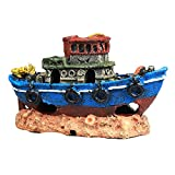 Smilyokach Adornos para Barcos de Pesca de Acuario pecera - Accesorios para Barcos hundidos Azules de Acuario de Resina