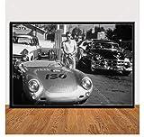 shifangtrade Poster James Dean Poster mit Auto Schwarzweiß