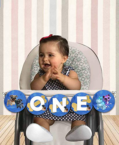 Puppy Dog Pals Blue High Chair Banner - ONE - Cardstock Cover 80lb - Comes with Ribbon for Hanging - 25in approx length