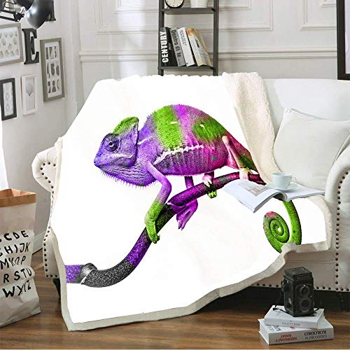ZGZZD Sofa Throw Blankets,Winter Soft Warm 3D Print Sofa Throw Blanket Elegant Chic Purple Tree Branch Lizard Animal White King Size Fluffy Blanket For Bed Couch Camping Travel,130X150Cm