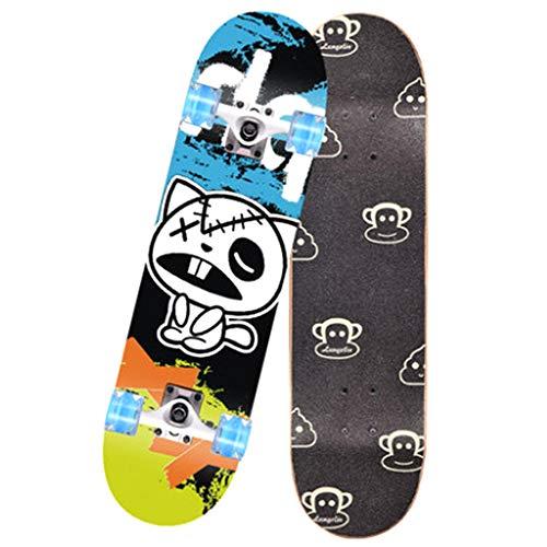 GCJJ-HSY 31 Pulgadas Pro Completa Skateboard, con Ruedas Brillantes LED, Niños, Adoles, Adultos (Cat Color Litter) De 6 A 12 Años