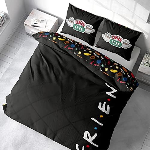 Friends Funda Nordica Cama 135 x 200 cm y 200 x 200 cm, Ropa de Cama y Almohadas, Juego de Sábanas para Edredón (Doble)