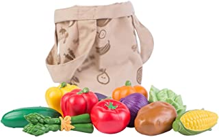 Learning Resources Fresh Picked Fruit & Veggie Tote, Pretend Play Food Set, 20 Piece, Ages 2+
