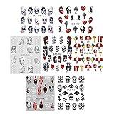 50 fogli adesivi per unghie teschio Halloween decalcomanie scheletro gotico di arte del chiodo per le donne