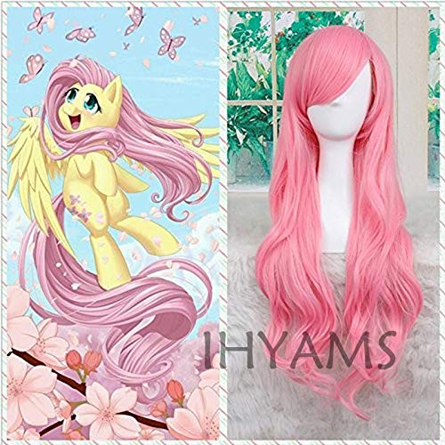 AHJSN My Little Pony Fluttershy Peluca de Halloween Rosa Peluca de fiesta...