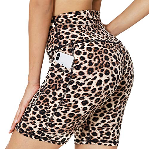 Athletic Workout Yoga Shorts for Women with Pockets High Waist Lightweight Running Ladies Mountain Bike Shorts for Women Girls, Leopard, L