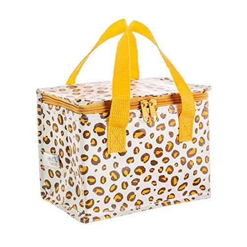 Sass & Belle Bolsa de almuerzo con estampado de leopardo natural, plástico reciclado, multicolor, 21 unidades