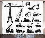 ABAKUHAUS Konstruktion Rustikaler Gardine, Schwarze LKW-Set, Schlafzimmer Kräuselband Vorhang mit Schlaufen und Haken, 280 x 260 cm, Weiß Schwarz
