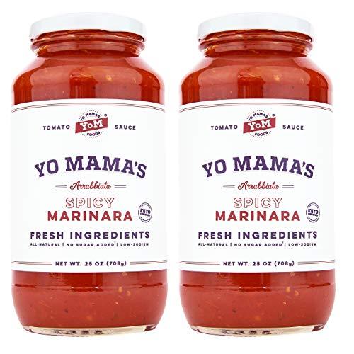 Keto SPICY Marinara Pasta Sauce by Yo Mama's Foods - Pack of (2) - No Sugar...