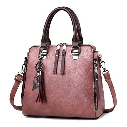 Fanspack Women's Handbag PU Leather Top Handle Bag Satchel Bag Crossbody Shoulder Bag Purses and Handbags with Tassel Pendant