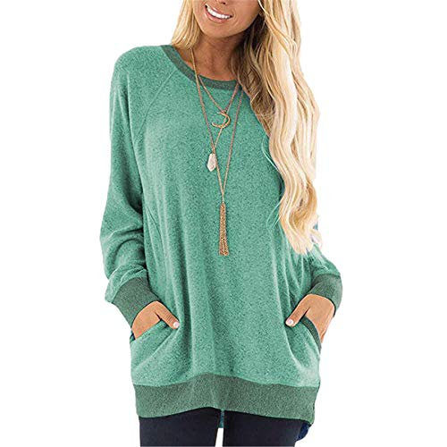 Ladies Contrast Pocket Sweater Langarm Pullover Sweatshirt Casual T-Shirt
