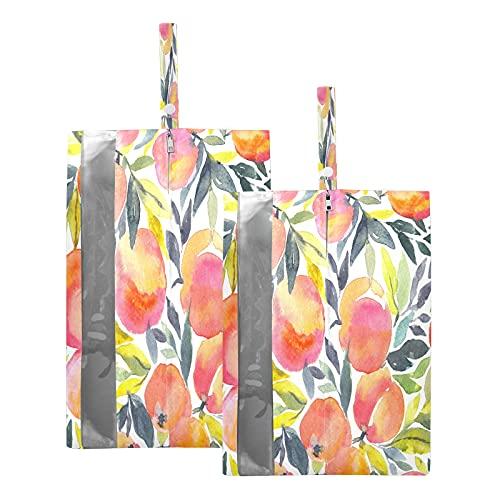 F17 - Bolsas de viaje para zapatos de frutas y melocotón, bolsa de almacenamiento para zapatos de viaje, impermeable, portátil, ligera, bolsa de almacenamiento para hombres y mujeres, 2 unidades