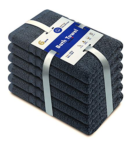 SOFTILE COLLECTION Cotton Organic Bath Towels Set, Highly Absorbent Combed Cotton, Soft Bathroom Towels for Pool, Spa, and Gym Lightweight and Quick Drying Towels, 22' x 44', Set of 6, Grey