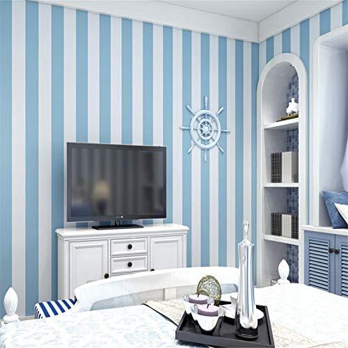 Mural Fotomural Papel Pintado 0.53 * 10 M Papel Pintado Autoadhesivo Mediterráneo 3D Raya Ambiental Azul Rosado Papel De Pared Para La Decoración De La Sala De Estar
