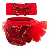 Slowera Baby Girls 2PCS Sets Cotton Tulle Sequins Diaper Cover Bloomers and Headband (Red, M: 6-12 Months) cloth diaper covers Apr, 2021