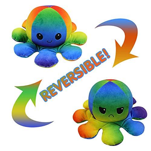 Nayble Wendbarer Oktopus Plüschtier, niedlich, Stimmung, Emotion, glücklich, traurig, Oktopus, Flip-Oktopus, Plüsch-Spielzeug (mehrfarbig)